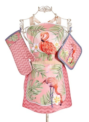The Mia Tropic Flamingo B 3lü Set - Önlük Eldiven Tutaç Renkli